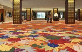 リーガロイヤルホテルのロビーのじゅうたん=12日、大阪市