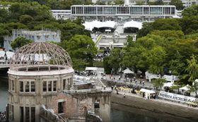 被爆から74年の「原爆の日」の原爆ドーム=2019年8月6日、広島市
