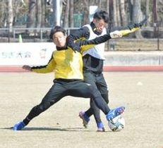 ミニゲームでボールを奪い合う栃木SCのMF佐藤(左)とFW畑=さくら市のさくらスタジアム