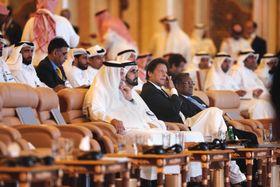 23日、サウジアラビア・リヤドで開かれた投資会議「未来投資イニシアチブ」の参加者(AP=共同)