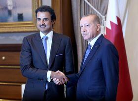 カタールのタミム首長(左)と会談するトルコのエルドアン大統領=15日、トルコ・アンカラ(トルコ大統領府提供・ロイター=共同)