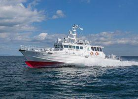 竣工した漁業取締船「はやかぜ」(県水産振興課提供)