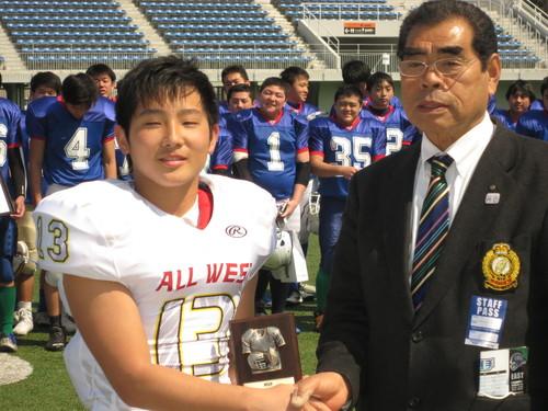最優秀選手に選ばれた関西代表WR関口選手=写真提供・東京都アメリカンフットボール協会