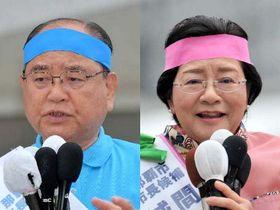 那覇市長選挙に立候補した(左から)翁長政俊氏と城間幹子氏