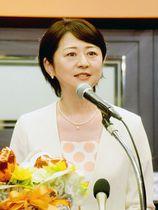 県知事選への出馬会見をする行田邦子参院議員=6月23日午後、さいたま市内のホテル