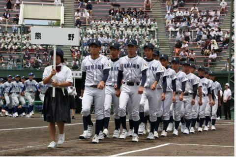 昨年の県大会開会式(2019年7月12日、和歌山市の紀三井寺球場で)