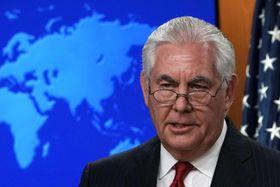 解任決定を受け、声明を出すティラーソン米国務長官=13日、米ワシントン(ゲッティ=共同)