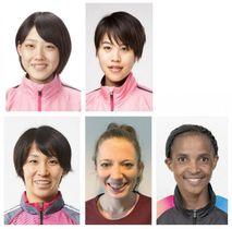 (上段左から)前田穂南、小原怜、(下段左から)安藤友香、レイチェル・クリフ、グレース・ブティエ・キマンズィ