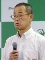 記者会見する原子力規制委員会の更田豊志委員長=20日午後、東京都港区