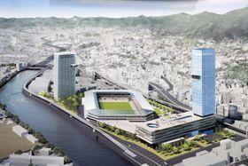 ジャパネットホールディングスなどが計画する新スタジアム(中央)のイメージ。36階建てのホテル(右)と34階建てマンション(左)なども整備する