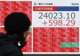 2万4023円10銭となった日経平均株価の終値を表示するボード=13日午後、東京都中央区