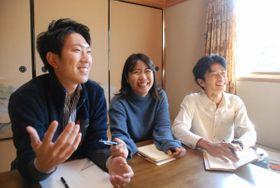 ジビエの加工・流通会社を立ち上げる(左から)笠井さん、江口さん、山本さん。「捨てられる命を無くし、限りある資源が循環する社会にしたい」(京都府笠置町笠置)