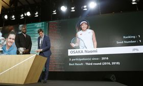 全仏オープンテニスの組み合わせ抽選で、画面に映し出された大坂なおみの映像=23日、パリ(共同)
