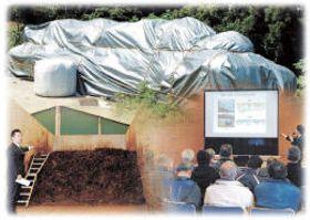 栗原市の農家の敷地内に保管された汚染牧草と、市が進めてきた堆肥化の実証実験施設、実験結果に関する住民説明会のコラージュ