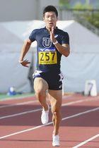 男子100メートルに出場予定の桐生選手=2017年9月19日、福井市の県営陸上競技場で