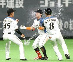 サヨナラ打を放ち、チームメートから手荒い祝福を受ける日本ハム・杉谷=札幌ドーム