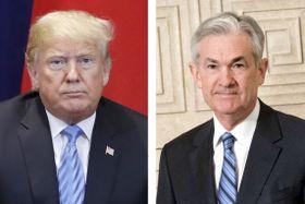 トランプ米大統領(左)、パウエルFRB議長(AP=共同)