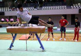 東京五輪で使われるあん馬の器具を使い、技を確認するメキシコ選手(手前)。奥は県の選手