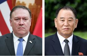 ポンペオ米国務長官(ゲッティ=共同)、北朝鮮の金英哲朝鮮労働党副委員長(UPI=共同)