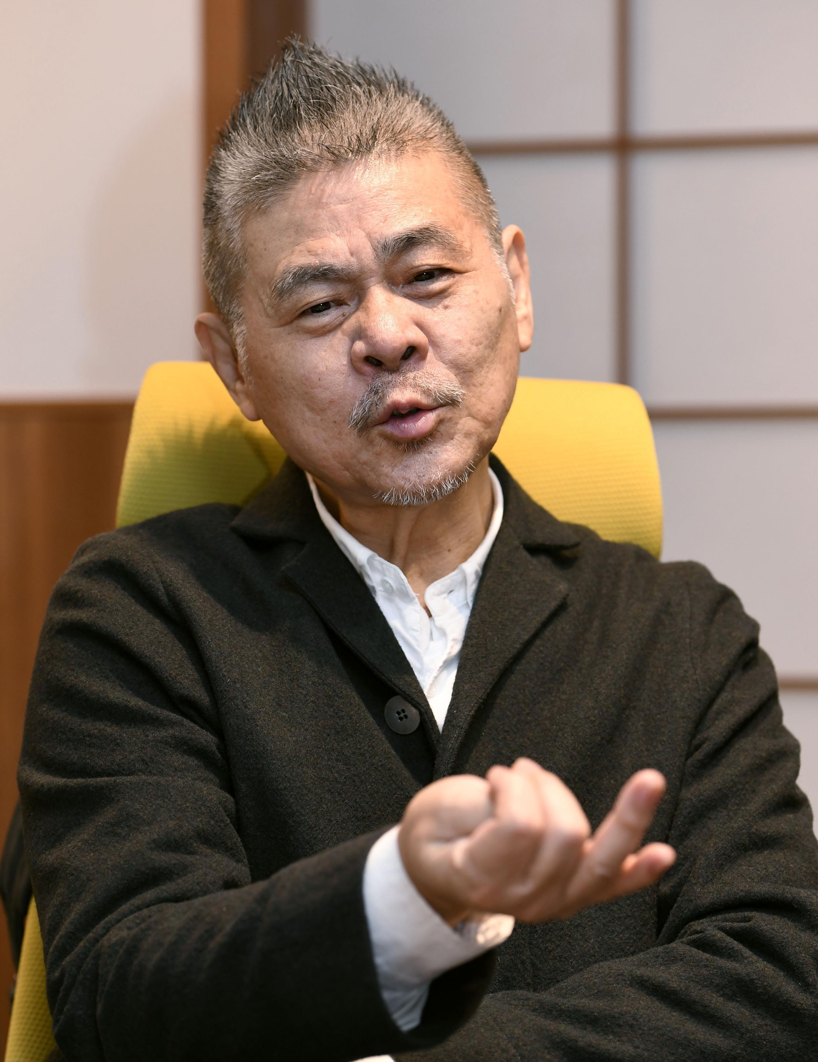 「田中宏和運動」について話す「ほぼ日」社長の糸井重里=東京都港区