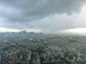 東京・池袋サンシャイン60から見た局地的豪雨(筆者撮影)