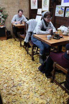 まるで森の中? 喫茶店内に敷き詰められたイチョウの葉=長崎市万屋町「ニューポート」