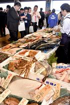 全国各地の鮮魚や加工品が並んだ年末商品展示会=山形市公設地方卸売市場