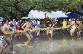 伝統行事「油井の豊年踊り」の「綱切り」=24日午後、鹿児島県・奄美大島