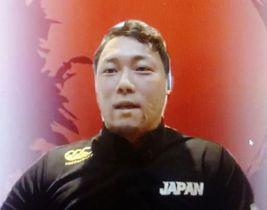 オンラインで取材に応じる、車いすラグビーの日本代表主将の池透暢(4日)