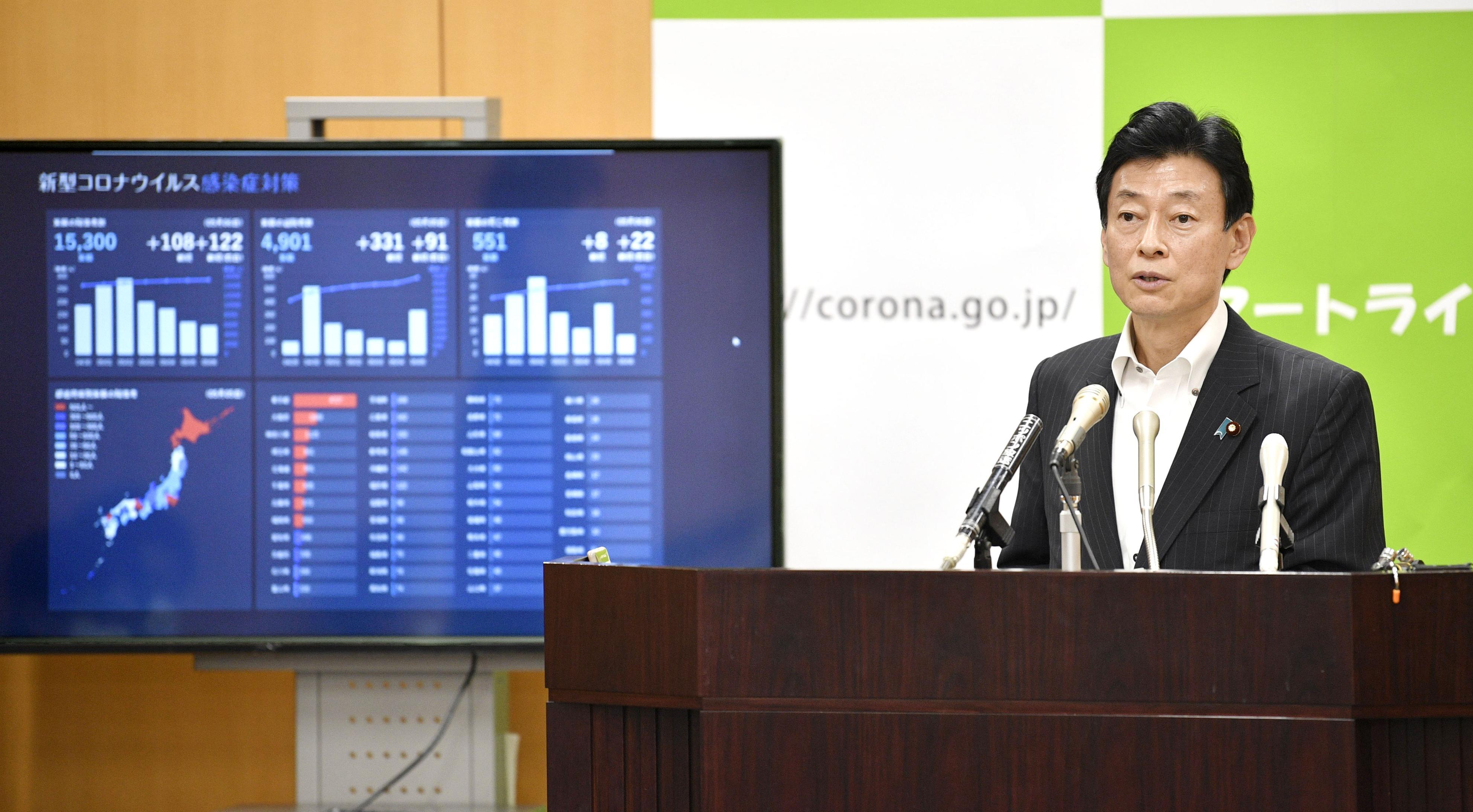 記者会見する西村経済再生相=7日午後、内閣府