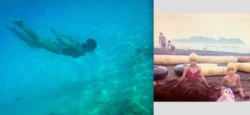 透明度抜群のシブがき島で海水浴(左)鵠沼海岸にて昭和の海水浴の風景<