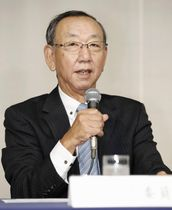 「沢村賞」の選考委員会を終え、該当者がいないことを発表する堀内恒夫選考委員長=21日、東京都内のホテル