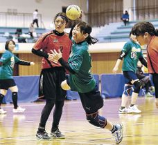 予選リーグのドルフィンズ戦で果敢にシュートを放つチーム昭和の櫻井=小松総合体育館