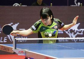女子シングルス1回戦で中国選手に敗れた平野美宇=アスタナ(共同)