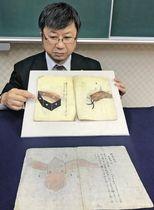 新たに見つかった飛行機の詳細図(上)。右のページに翼、左のページに操縦席が描かれている。下は以前に見つかっていた全体図=長浜城歴史博物館
