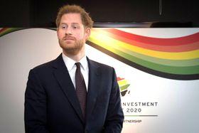 20日、英ロンドンで開かれた英・アフリカ投資サミットに出席したヘンリー王子(ロイター=共同)