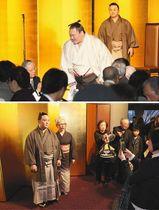 (上)特別ゲストとして訪れた横綱白鵬(中) (下)炎鵬関(左)と記念撮影する来場者=いずれも金沢市内で