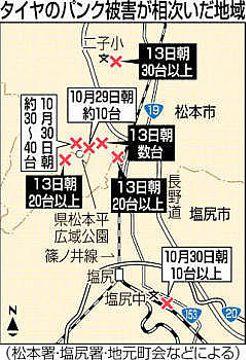 松本・塩尻のパンク事件 一晩で被害70台以上 同一犯の可能性