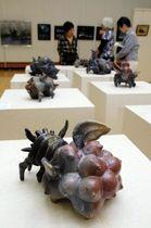 独特な形をした田中ひろやさんの作品が並ぶ会場=三田市総合文化センター・郷の音ホール