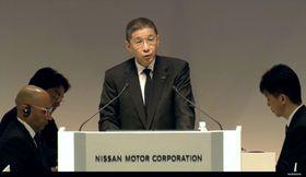 25日、横浜市で開かれた日産自動車の定時株主総会であいさつする西川広人社長兼最高経営責任者(日産公式ユーチューブから)