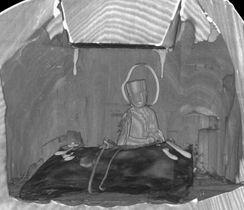 聖徳太子立像胸部のCTスキャン画像。内部に菩薩半跏像を確認した