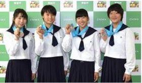 総体 恵庭北、陸上女子400リレー 18歳未満の日本新