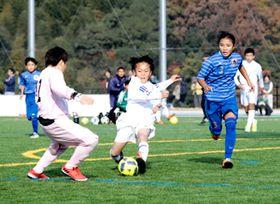 小学生が日本一を目指し、熱戦を繰り広げたEXILEカップ=10日、今治市営スポーツパークサッカー場