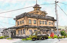 ごとうゆきさんが描いた「坂出点描45景」のうち「旧港務所」