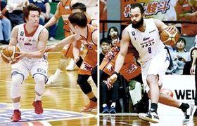 (左)リーグ屈指の攻撃力を誇った熊本で司令塔を務めた古野、(右)ゴール下で強さを発揮するエチェニケ
