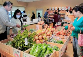 リニューアルオープンし、三田産の野菜が多く並んだ「三田まほろばブレッツァ」の物販コーナー=三田市学園4