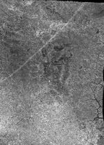 キトラ古墳壁画の東壁で十二支の「辰」が描かれていると想定される部分にエックス線撮影で見つかった黒い影(文化庁提供)