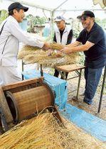 しめ縄の掛け替えに向け、氏子らと材料のわらを準備するカービーさん(右)=島田市の大井神社