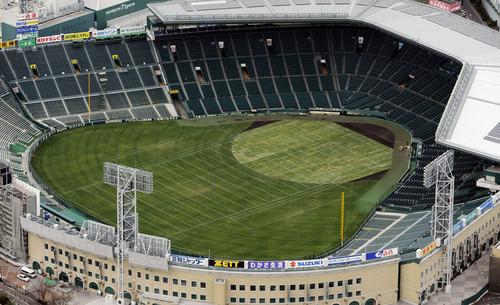 甲子園ボウルに備え、天然芝で一面が緑に覆われた甲子園球場=10年