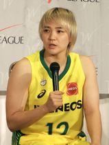 記者会見するバスケットボールWリーグ、JX―ENEOSの吉田=12日、東京都内